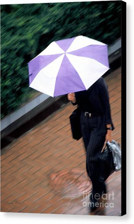 Rain Canvas Print featuring the photograph Rushing Back - Umbrellas Series 1 by Carlos Alvim