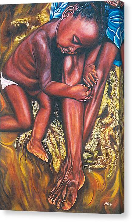 Figurative Canvas Print featuring the painting Mother And Child by Shahid Muqaddim