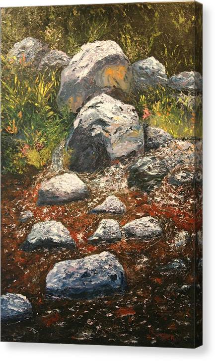 Landscape Canvas Print featuring the painting Woodland Stream by Robert Tower