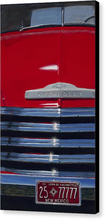 Trucks Canvas Print featuring the painting Red 53 by Jack Atkins