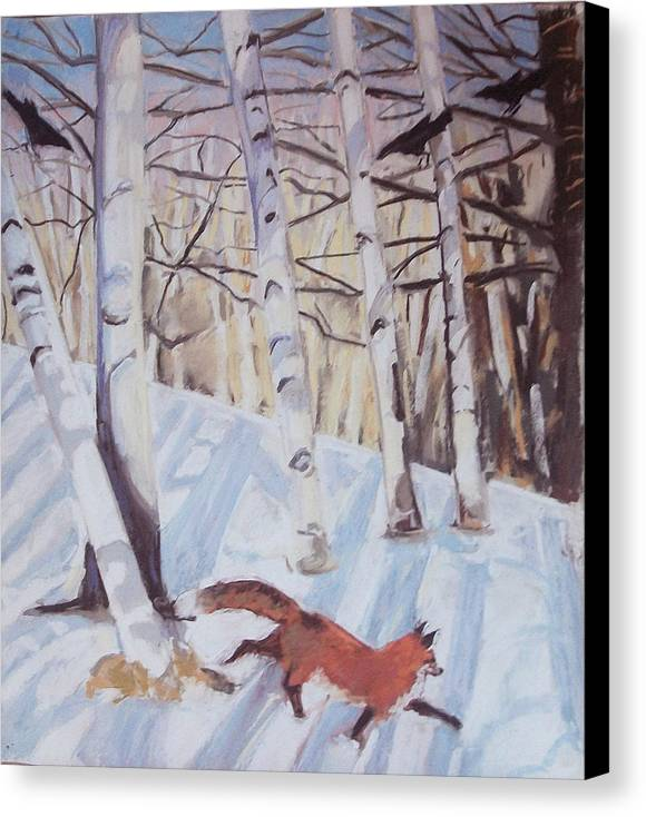 Fox Canvas Print featuring the pastel Visitor by Grace Keown
