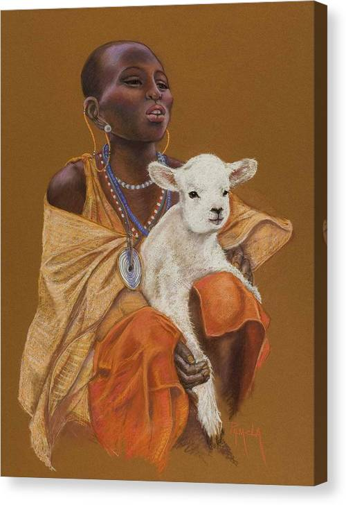 African Girl Holds A Little Lamb Happy That He Helps Her Family African Girl In Beads And Golden Garments White Lamb Africa Pastel Painting Pastel Painting Realistic Pam Mccabe Pamela Mccabe Canvas Print featuring the painting African Girl With Lamb by Pamela Mccabe