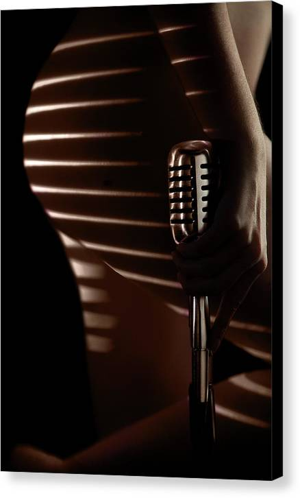 Microphone Canvas Print featuring the photograph Micro-stripe 2 by Dario Infini