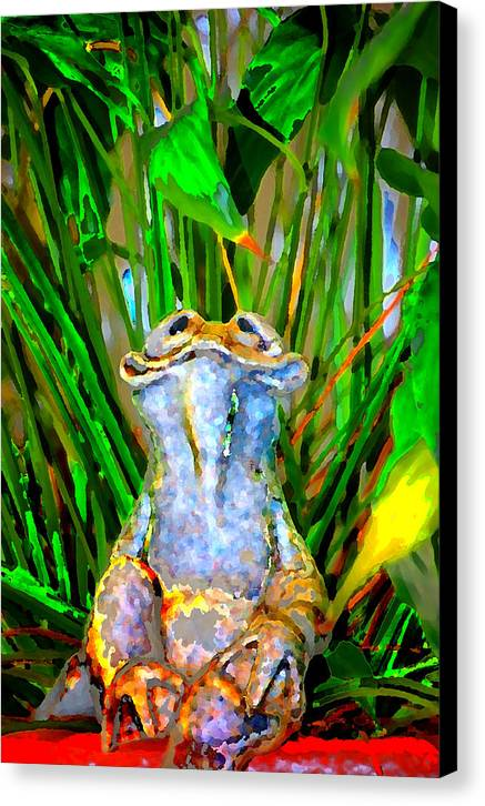 Canvas Print featuring the digital art Funny Frog by Danielle Stephenson