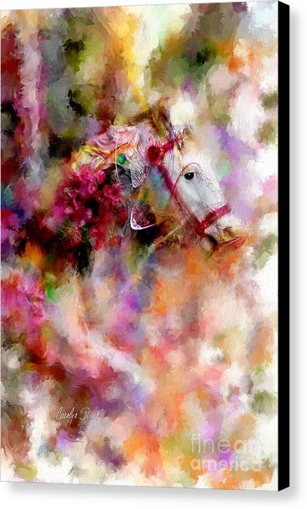 Abstract Horses Abstract Realism Bright Canvas Print featuring the painting If Wishes Were Horses... by Carolyn Staut