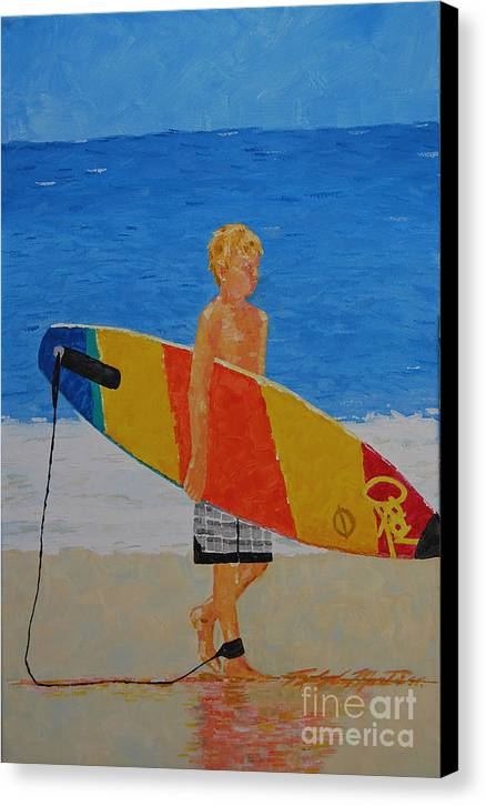 Beach Art Canvas Print featuring the painting In Search Of A Ride by Art Mantia