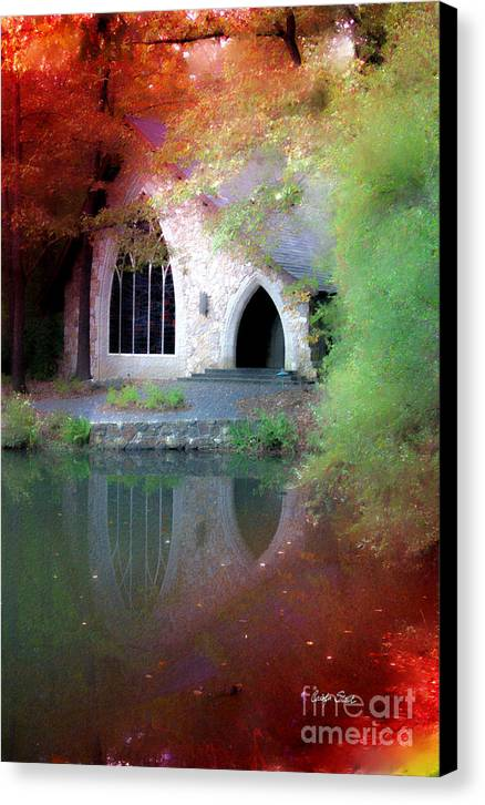 Landscape Fall Church Trees Reflection Sacred Canvas Print featuring the painting Sacred Silence by Carolyn Staut