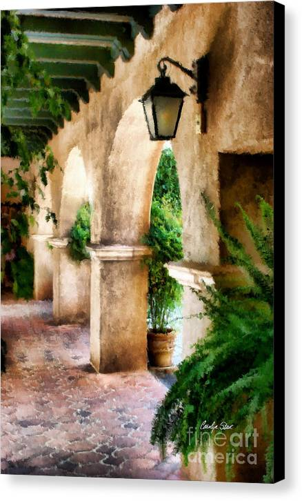 Landscape Buildings Tropical Southwestern Canvas Print featuring the painting Spiritual Pathway by Carolyn Staut