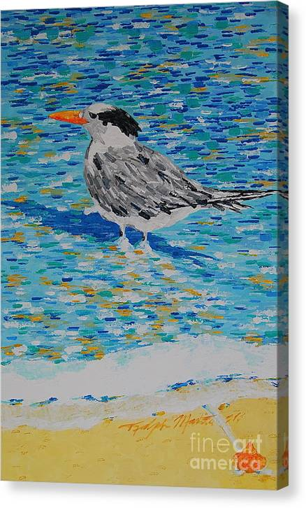 Beach Scene Canvas Print featuring the painting Maestro Of The Beach by Art Mantia