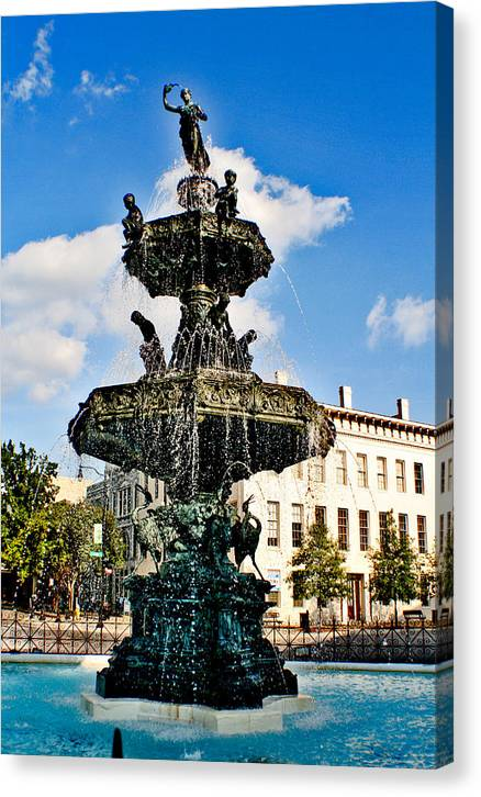 Fountain Canvas Print featuring the photograph The Town Square by Greg Sharpe