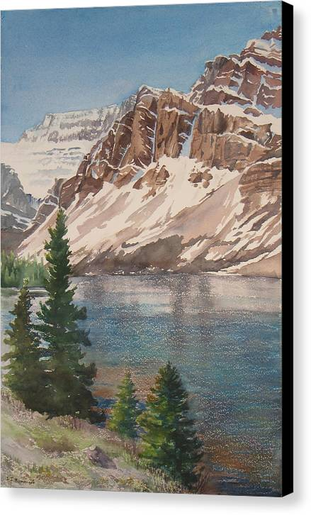 Bow Lake Canvas Print featuring the painting Bow Lake Alberta by Debbie Homewood