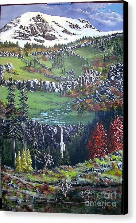 Landscape Canvas Print featuring the painting Rainier In Fall by John Wise