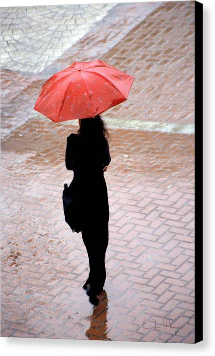 Rain Canvas Print featuring the photograph Red 2 - Umbrellas Series 1 by Carlos Alvim