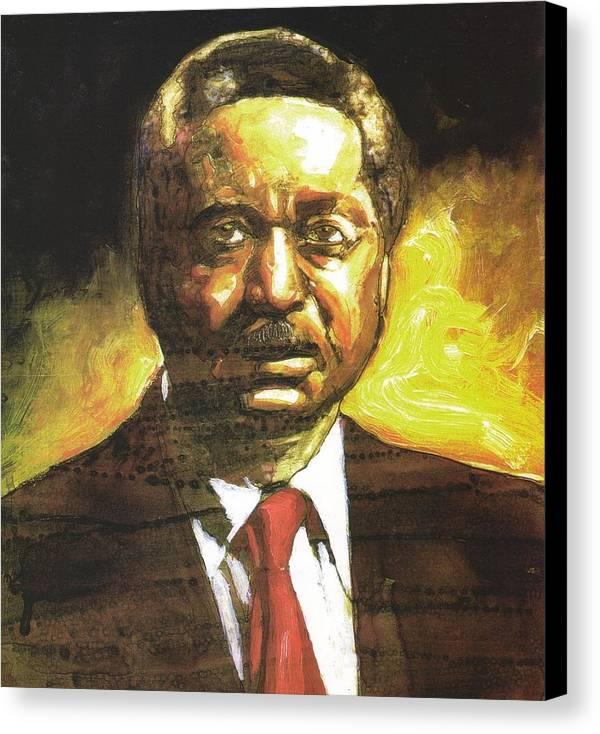 Reverend Leon Sullivan Canvas Print featuring the painting Portrait Of Rev. Leon Sullivan by Michael Facey