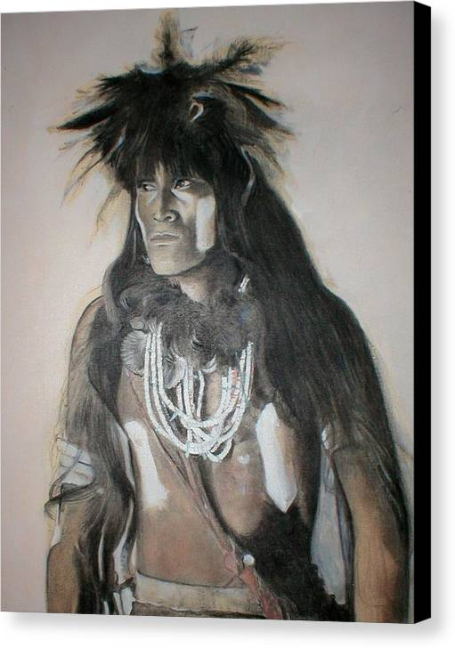 Hopi Canvas Print featuring the painting Hopi Snake Priest by Terri Ana Stokes