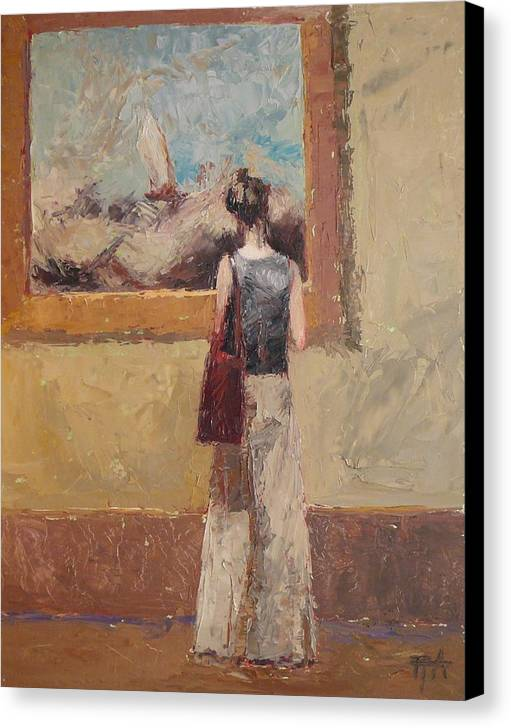 Girl Canvas Print featuring the painting Admiring Turner by Irena Jablonski