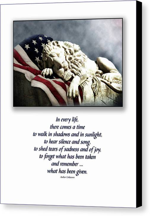 Patriot Flag American Lion Canvas Print featuring the photograph Fallen Patriot by Carolyn Staut