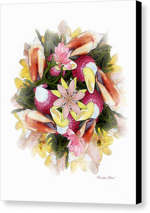 Shells Canvas Print featuring the digital art Fragrant Seabreeze by Carolyn Staut