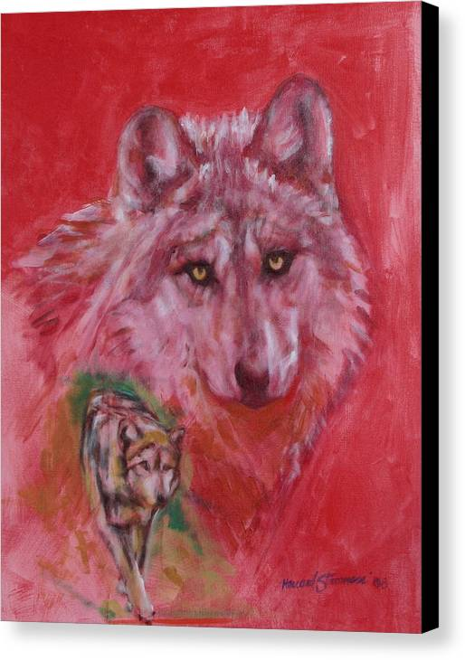 Bbkexperi Canvas Print featuring the painting Wolf by Howard Stroman