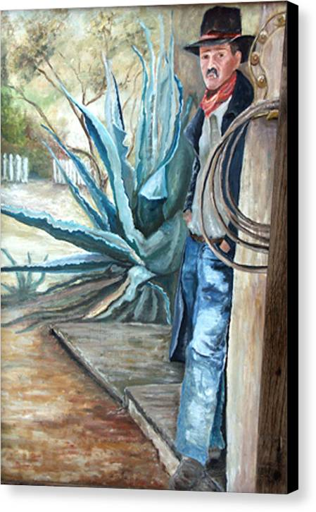 Cowboy Canvas Print featuring the painting Cowboy by CJ Rider