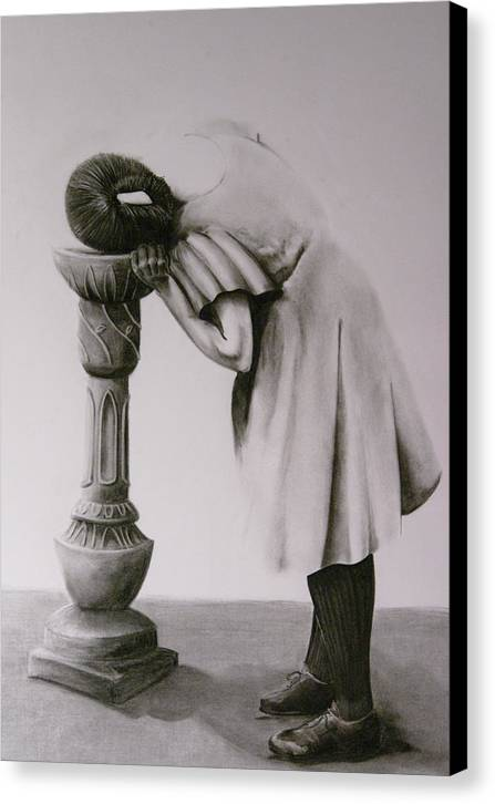 Figurative Canvas Print featuring the drawing Drinking Fountian by John C