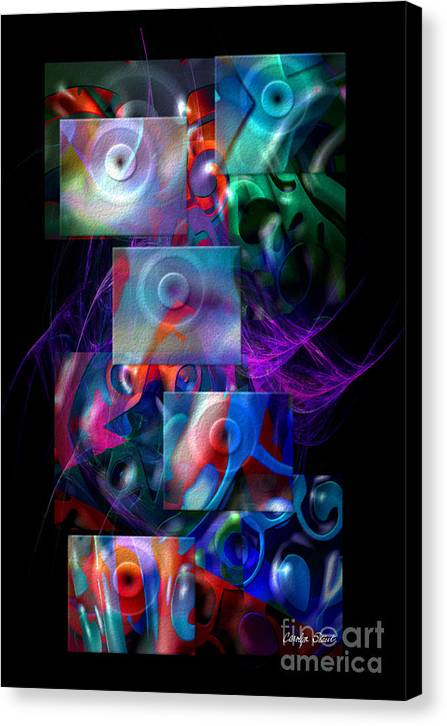 Abstract Color Abstract Realism Canvas Print featuring the digital art Get It In Gear by Carolyn Staut