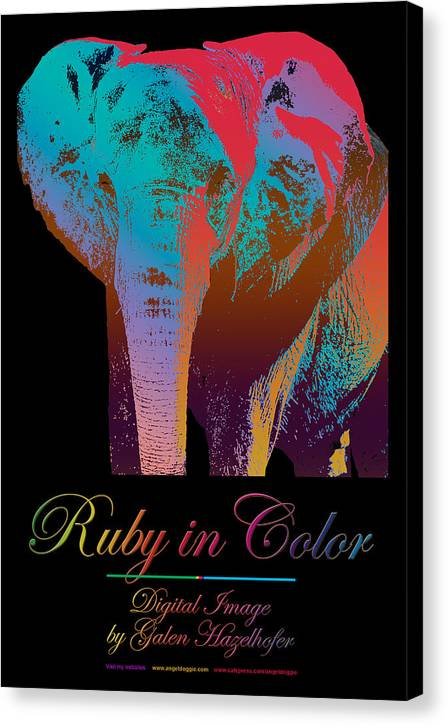 Elephant Canvas Print featuring the digital art Ruby In Color by Galen Hazelhofer