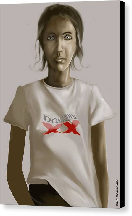 Portrait Canvas Print featuring the digital art Tee Shirt Portrait by Kerry Beverly