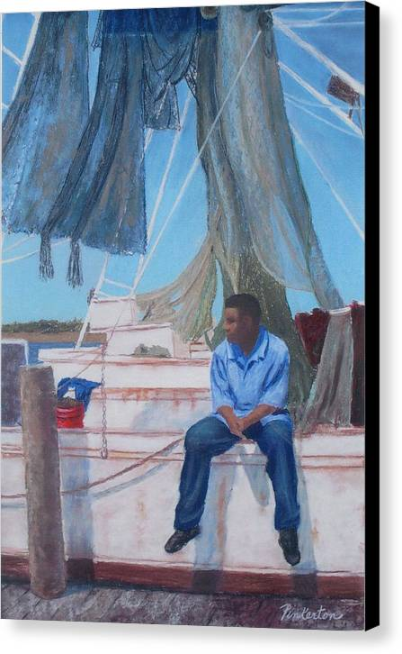 Figure Canvas Print featuring the painting Waiting For His Buddies by Miriam Pinkerton