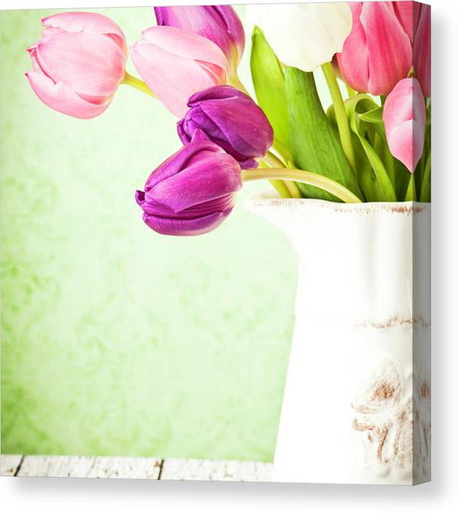 Mother's Day Canvas Print featuring the photograph Easter Tulips And Copy Space by Catlane