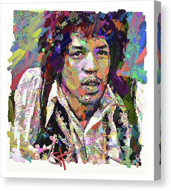 Jimi Hendrix Music Portrait Musician Rock Canvas Print featuring the digital art Jimi by Scott Waters