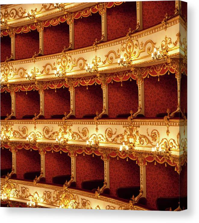 Event Canvas Print featuring the photograph Boxes Of Italian Antique Theater by Naphtalina