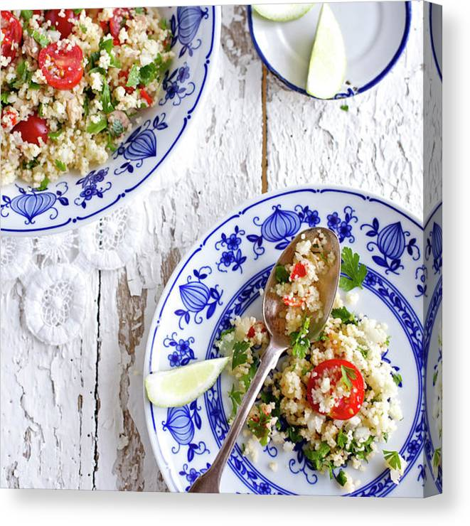 Spoon Canvas Print featuring the photograph Couscous Salad by Ingwervanille
