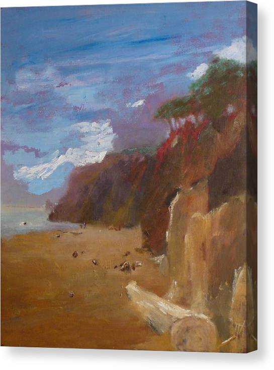 Sea Scape Canvas Print featuring the painting Beach in Santa Barbara by Irena Jablonski