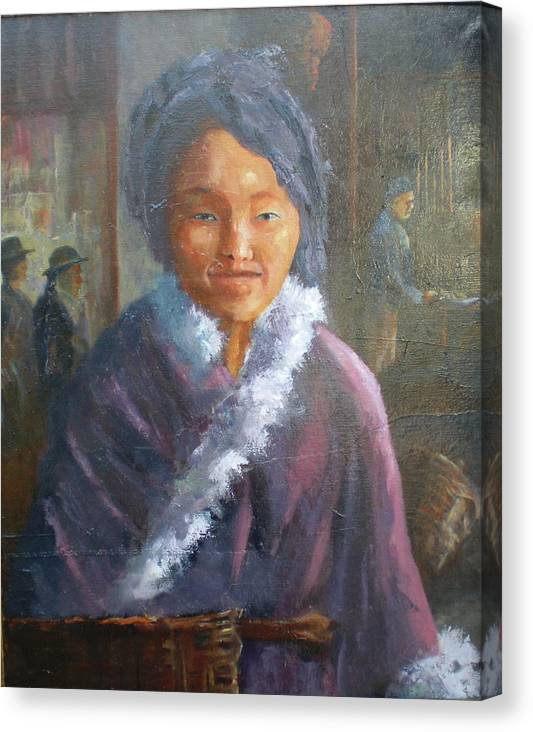 Period Painting Canvas Print featuring the painting Tibetan Fur Coat by Bryan Alexander