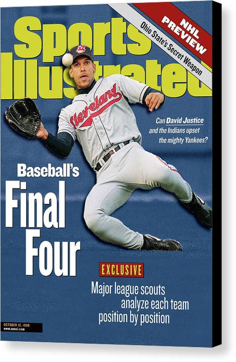 Playoffs Canvas Print featuring the photograph Baseballs Final Four Can David Justice And The Indians Sports Illustrated Cover by Sports Illustrated