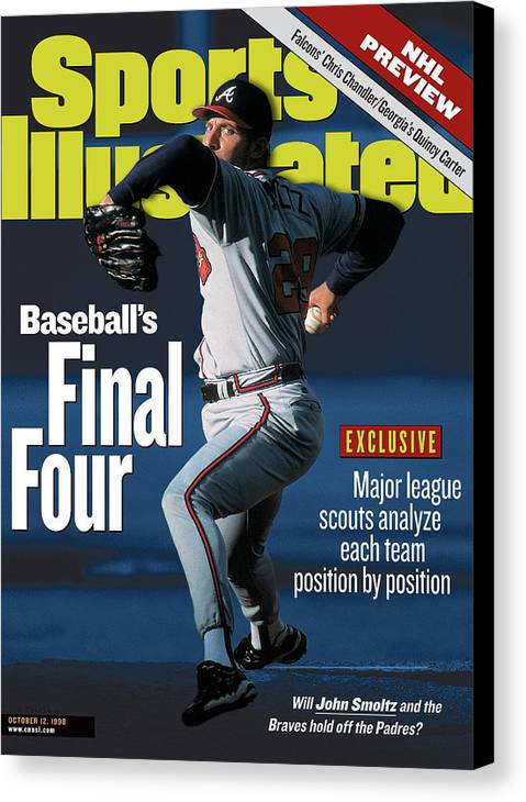 Candlestick Park Canvas Print featuring the photograph Baseballs Final Four Will John Smoltz And The Braves Hold Sports Illustrated Cover by Sports Illustrated