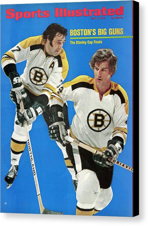Playoffs Canvas Print featuring the photograph Boston Bruins Phil Esposito And Bobby Orr, 1972 Nhl Sports Illustrated Cover by Sports Illustrated