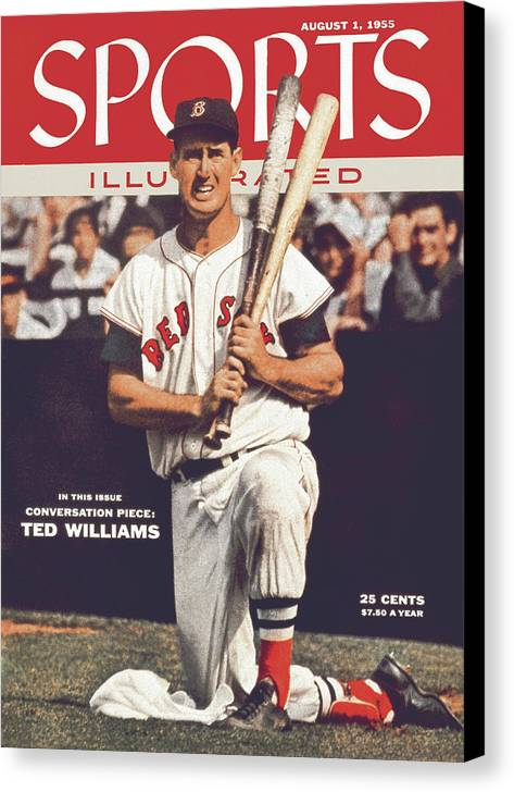 Magazine Cover Canvas Print featuring the photograph Boston Red Sox Ted Williams... Sports Illustrated Cover by Sports Illustrated