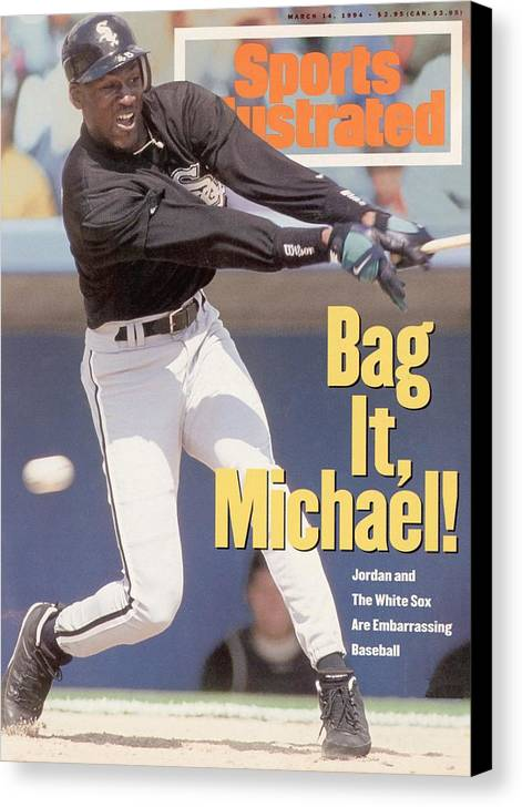 Magazine Cover Canvas Print featuring the photograph Chicago White Sox Michael Jordan... Sports Illustrated Cover by Sports Illustrated