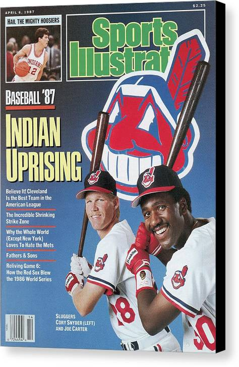1980-1989 Canvas Print featuring the photograph Cleveland Indians Cory Snyder And Joe Carter, 1987 Mlb Sports Illustrated Cover by Sports Illustrated