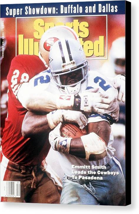 Playoffs Canvas Print featuring the photograph Dallas Cowboys Emmitt Smith, 1993 Nfc Championship Sports Illustrated Cover by Sports Illustrated