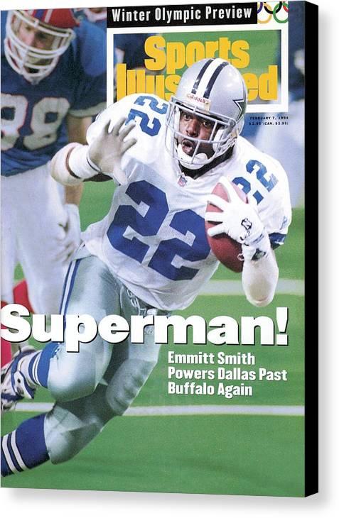 Atlanta Canvas Print featuring the photograph Dallas Cowboys Emmitt Smith, Super Bowl Xxviii Sports Illustrated Cover by Sports Illustrated