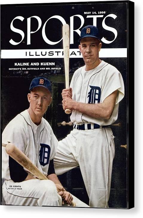 Magazine Cover Canvas Print featuring the photograph Detroit Tigers Al Kaline And Harvey Kuenn Sports Illustrated Cover by Sports Illustrated