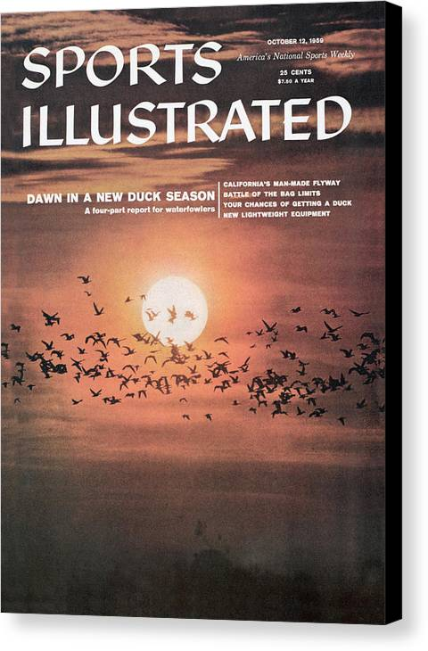 Magazine Cover Canvas Print featuring the photograph Duck Hunting Sports Illustrated Cover by Sports Illustrated