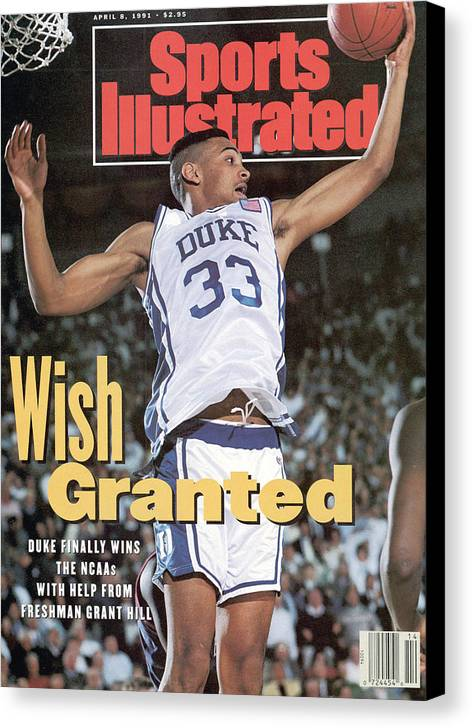 Sports Illustrated Canvas Print featuring the photograph Duke University Grant Hill, 1991 Ncaa National Championship Sports Illustrated Cover by Sports Illustrated