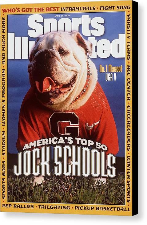 Magazine Cover Canvas Print featuring the photograph Georgia Bulldogs Mascot Uga V Sports Illustrated Cover by Sports Illustrated