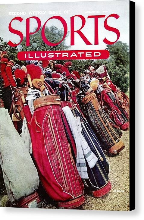 Magazine Cover Canvas Print featuring the photograph Golf Bags, 1954 Masters Tournament Sports Illustrated Cover by Sports Illustrated