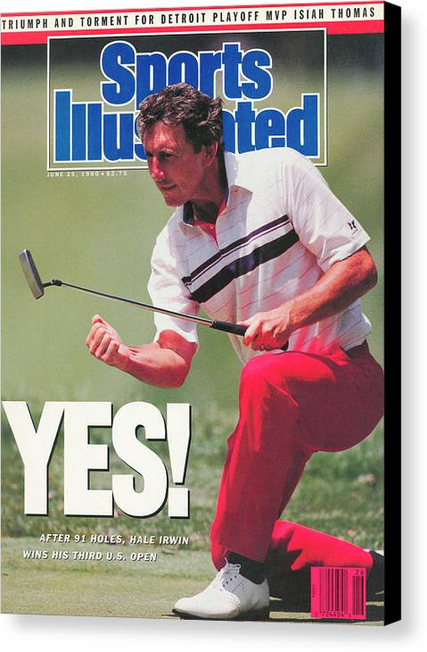 Magazine Cover Canvas Print featuring the photograph Hale Irwin, 1990 Us Open Sports Illustrated Cover by Sports Illustrated