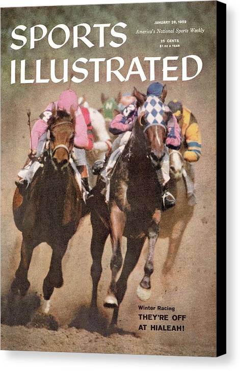 Horse Canvas Print featuring the photograph Hialeah Park Racetrack Sports Illustrated Cover by Sports Illustrated